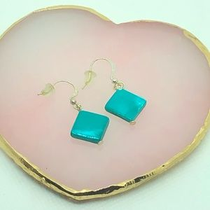 Turquoise Blue Square Earrings